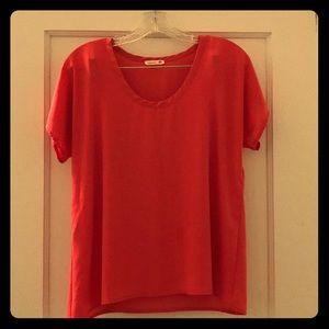 Pinkish orange chiffon shirt